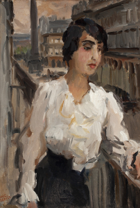 A lady in Paris on the balcony of Hotel Continental,  Place Vendôme in the background - Isaac Israëls