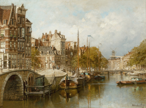 View on the Brouwersgracht from the Papiermolensluis, Amsterdam - Johannes Christiaan Karel Klinkenberg