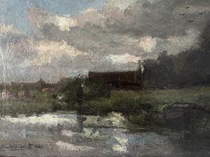 Piet van Wijngaerdt, oil on canvas with title 'Amstellande' - Petrus Theodorus (Piet) van Wijngaerdt