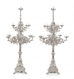 An impressive pair of Dutch silver pricket candelabra