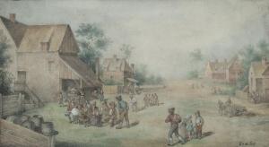 Dorpslandschap met drinkende boeren voor een herberg - Egbert Lievensz. van der Poel
