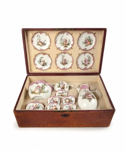 A Meissen Tea and coffee service in a later leather case