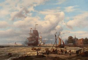 A V.O.C. merchant ship in the roads of Dordrecht - Johannes Hermanus Barend Koekkoek