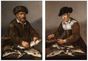 Visser en vissersvrouw met op tafel zoetwatervissen - Pieter de Putter