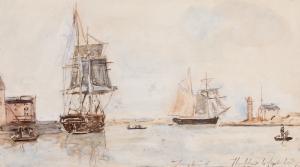 Voiliers à l'entrée du port de Honfleur - Johan Barthold Jongkind