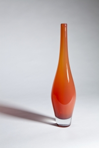 Floris Meydam, Leerdam Unica, Oranje glazen fles, uitvoering A. van Lopik, 1965 - Floris Meydam