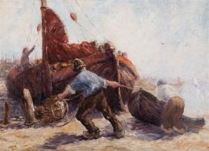 """Fishermen pulling a boat ashore""  - Leonard Gustaaf  Imandt - Leonard Gustaaf Imandt"