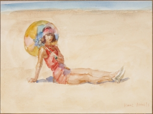 Young lady at the beach of Viareggio - Isaac Israëls