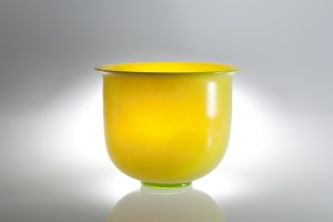 A.D. Copier, One-off yellow bowl with tin crackle, Leerdam Unica G204, 1930-1931 - Andries Dirk (A.D.) Copier