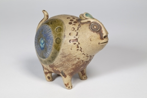 Hans de Jong, Glazed stoneware sculpture, fantasy animal, 1977 - Hans de Jong