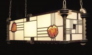 Amsterdamse School Glas-in-Lood Hanglamp met Halfedelstenen, jaren 1920