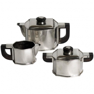 Fa. Wolfers Frères, Art Deco three-piece silver tea set, Silver 835, 1930s - Philippe Wolfers Frères