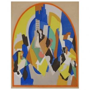 Albert Gleizes, Kubistisch gouache stencil, 'Decoration pour la Gare de Moscou', jaren '20 - Albert Gleizes