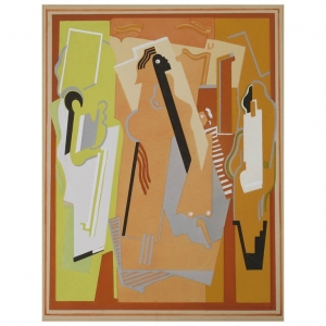 Albert Gleizes, Kubistisch gouache stencil, 'Composition à Trois Éléments', 1924 - Albert Gleizes