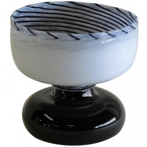 A.D. Copier, Unique black and white glass vase, executed by Lino Tagliapietra, Effetre International, Murano, 1984 - Andries Dirk (A.D.) Copier