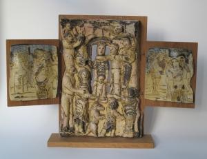 Lies Cosijn, Keramisch drieluik, gemonteerd op eikenhout, 1997 - Lies Cosijn