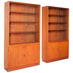 Børge Mogensen, Twee boekenkasten van teakhout met glas, Søborg Møbler, Denemarken, jaren '60 - Børge Mogensen
