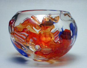 Studio Glass One-Off Bowl by A. D. Copier, Oude Horn, 1989 - Andries Dirk (A.D.) Copier