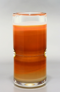 Floris Meydam, Leerdam Unica, oranje glazen cilindervaas, 1980 - Floris Meydam