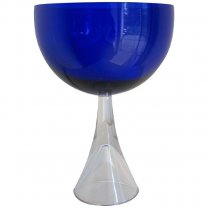 Floris Meydam, Leerdam Serica, Blue glass bowl on hollow foot, 1960 - Floris Meydam