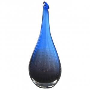 Floris Meydam, Leerdam Unica, paarsblauwe glazen vaas met luchtbellen, 1957 - Floris Meydam