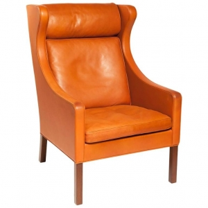 Børge Mogensen, Orange leather wing chair, model 2204, 1960s - Børge Mogensen