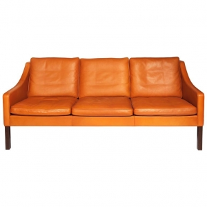 Børge Mogensen, Orange leather three-seat sofa, model 2209, 1960s - Børge Mogensen