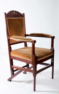 H.P. Berlage/ M.J. Hack, Mahogany armchair with inserted figures and inlays, circa 1905 - Hendrik Petrus (H.P.) Berlage
