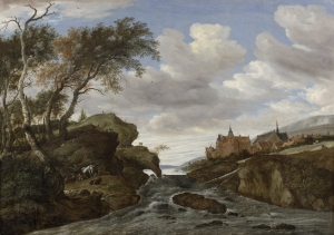 Rocky landscape with a waterfall - Salomon van Ruysdael
