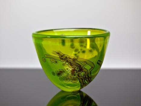 Willem Heesen, Unieke glazen vaas uit de serie 'Waterkant', uitvoering De Oude Horn, 1985 - Willem Heesen
