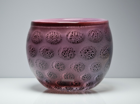 A.D. Copier, Unique pink vase with tin-antimony crackle, Glass Factory Leerdam, 1929-1930 - Andries Dirk (A.D.) Copier