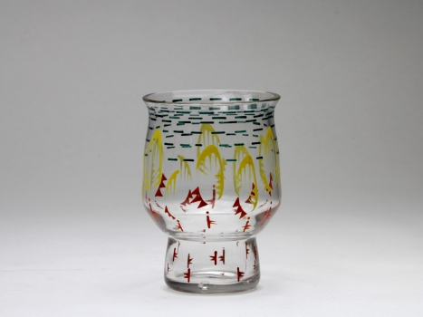 Chris Lanooy, Glass vase with enamel painting of bats, Glass Factory Leerdam, 1919 - Chris (C.J.) Lanooy