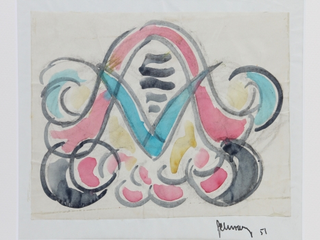 Mommie Schwarz, Sketch no. 51, watercolour, pencil and ink on paper, 1920s - Mommie (S.L.) Schwarz