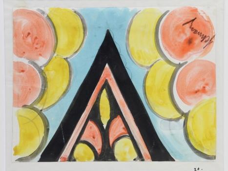 Mommie Schwarz, Schets nr. 20, waterverf, potlood en inkt op papier, jaren '20 - Mommie (S.L.) Schwarz
