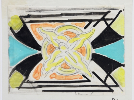 Mommie Schwarz, Sketch no. 12, watercolor, pencil and ink on paper, 1920s - Mommie (S.L.) Schwarz