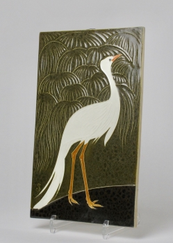 Jan Schonk for pottery factory Zuid-Holland, Gouda, Cloisonné tile with bird of paradise and palms, 1925-1930 - Jan Schonk