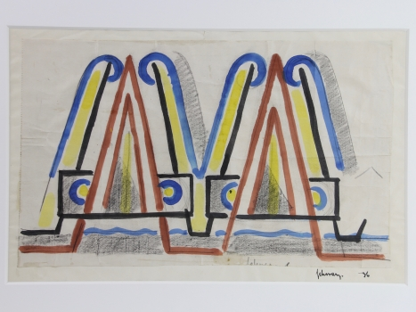 Mommie Schwarz, Sketch nr. 36, watercolour, pencil and ink on paper, 1920s - Mommie (S.L.) Schwarz