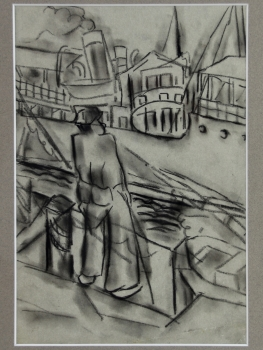Mommie Schwarz, sketch of dockworker, charcoal on paper, 1920s - Mommie (S.L.) Schwarz