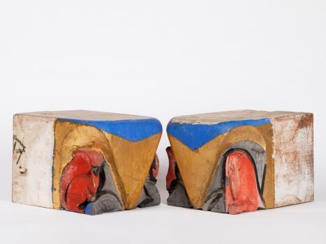 Hildo Krop, Twee houten Amsterdamse School consoles, ca. 1925 - Hildo (H.L.) Krop