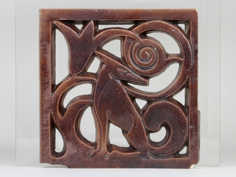 Hildo Krop for ESKAF, Stoneware tile with openwork decoration, 1921-1924 - Hildo (H.L.) Krop