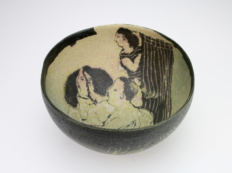 Lies Cosijn, Bowl with figures, stoneware with engobe, 1988's - Lies Cosijn