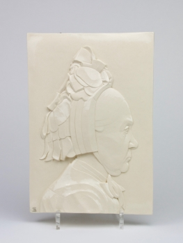 Bertha Thoe Schwartzenberg, 'Koopvrouwtje', glazed earthenware plaque, executed by Hilversumsche Plateelbakkerij - Bertha Thoe Schwartzenberg en Hohenlansberg