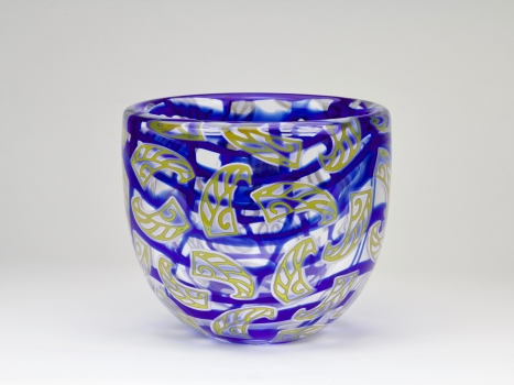 Olaf Stevens for Glass Factory Leerdam, Unique blue vase with yellow decoration, execution Henk Verwey, 1995 - Olaf Stevens