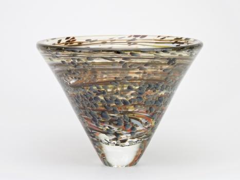 A.D. Copier for La Verrerie de Biot, Unique vase with colorful decoration, 1989 - Andries Dirk (A.D.) Copier