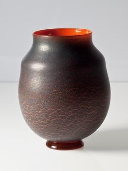 A.D. Copier, Unieke oranje vaas met zwart antimooncraquelé, Glasfabriek Leerdam, 1927 - Andries Dirk (A.D.) Copier