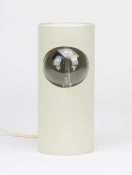 Cylinder table lamp with spinning machinery, 1960s