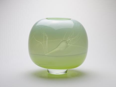 Willem Heesen, Unique light green vase, Studio De Oude Horn, 1982 - Willem Heesen