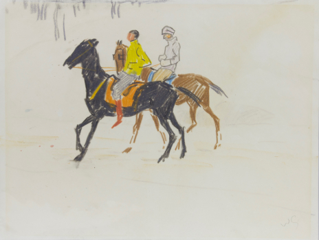 Willy Sluiter, Studie voor aquarel Segantini Museum, waskrijt op papier, ca. 1920 - Willy Sluiter