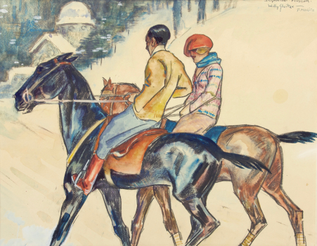 Willy Sluiter, Two riders and the Segantini Museum in the snow, St. Moritz, early 1920s - Willy Sluiter
