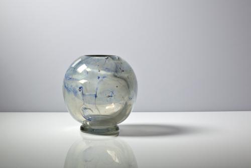 A.D. Copier, Unique vase with blue decoration, Glass Factory Leerdam, 1942 - Andries Dirk (A.D.) Copier